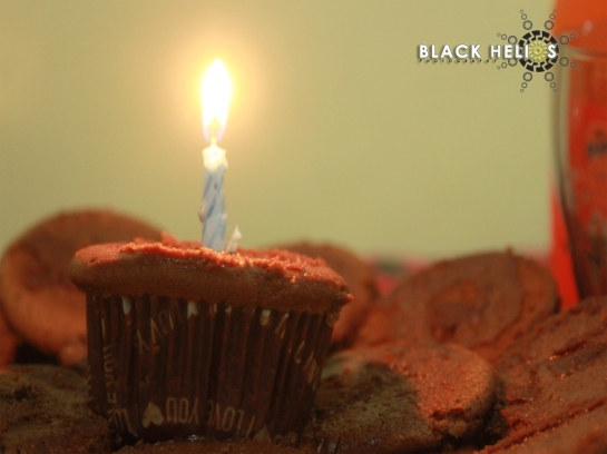Lighted candle home-made cupcakes- Blackhelios